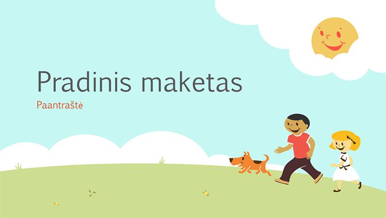 Mokomosios pateikties su žaidžiančiais vaikais dizainas (žaisminga iliustracija, plačiaekranė)