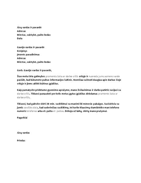 Laiškas su prašymu surengti informacinę apklausą