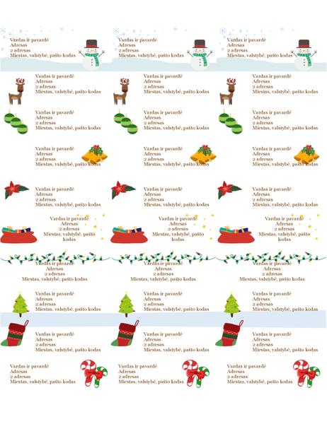 """Dovanų etiketės (kalėdinės nuotaikos dizainas, 30 puslapyje, naudoti su """"Avery"""" 5160)"""