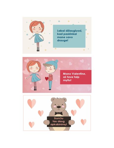 Valentino diena vaikams (12 dizainų, 3 viename puslapyje)