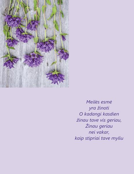 Valentino dienos atvirukas su eilėraščiu (keturgubo sulenkimo)