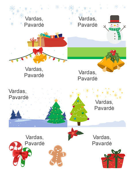 """Šventiniai vardų ženkleliai (kalėdinės nuotaikos dizainas, 8 puslapyje, naudoti su """"Avery"""" 5395 ir pan.)"""