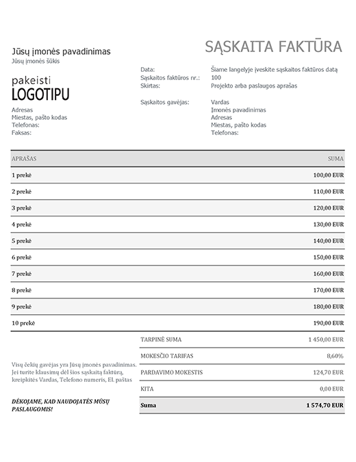 Sąskaita faktūra su pardavimo mokesčiais