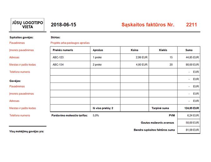 Sąskaita faktūra, apskaičiuojanti visą sumą (gulsčia)