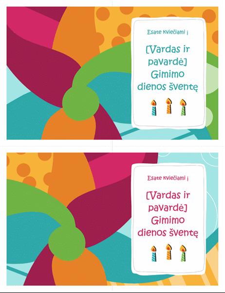 Kvietimo į gimtadienio šventę kortelės (dvi viename puslapyje, ryškaus dizaino)