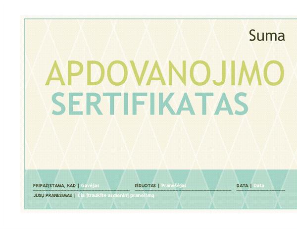Apdovanojimo sertifikatas (puošnus dizainas)