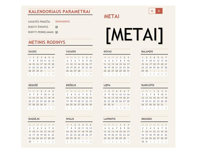 Bet kurių metų kalendorius su šventėmis