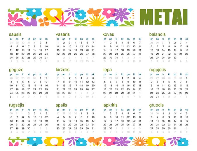 Žaismingas bet kurių metų kalendorius