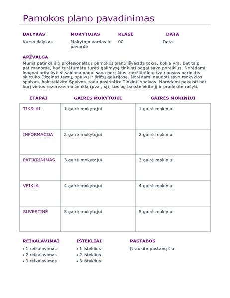 Dienos pamokų planavimo priemonė (spalvota)