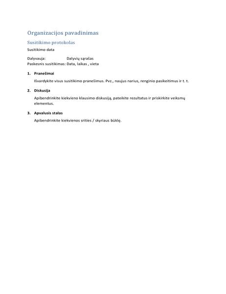 Susitikimo protokolą (trumpoji forma)