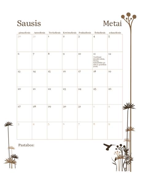 2018 m. 12 mėnesių kalendorius (pirmadienis–sekmadienis)