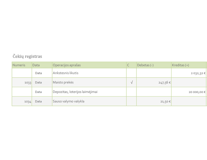 Čekių registras