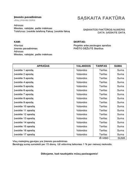 Paslaugų sąskaita faktūra su valandomis ir tarifu