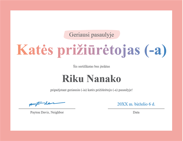 """Apdovanojimo sertifikatas """"Geriausi pasaulyje"""""""