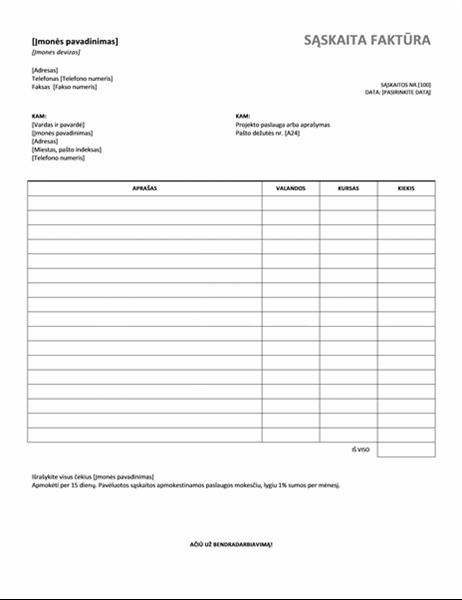 Paslaugų sąskaita faktūra su valandomis ir koeficientais