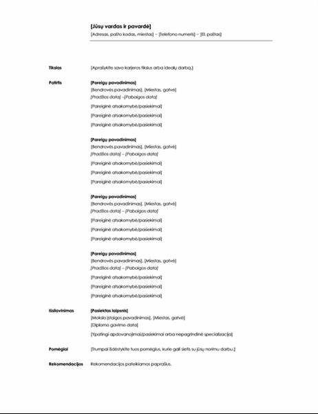 Chronologinis gyvenimo aprašymas (minimalistinė tema)