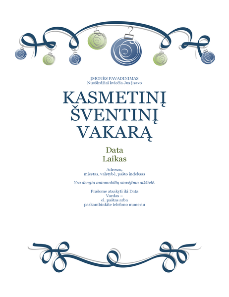 Atostogų vakarėlio lankstinukas su ornamentais ir mėlynu kaspinu (formalaus dizaino)