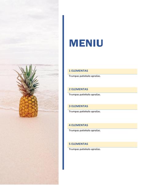 Vakarėlio valgiaraštis (saulės ir smėlio dizainas)