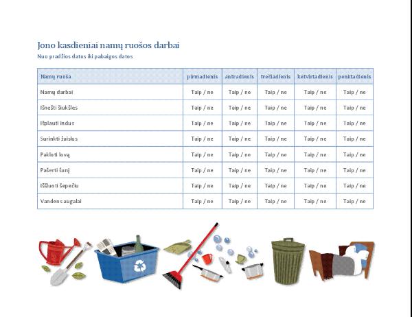 Vaiko namų ruošos darbų kontrolinis sąrašas