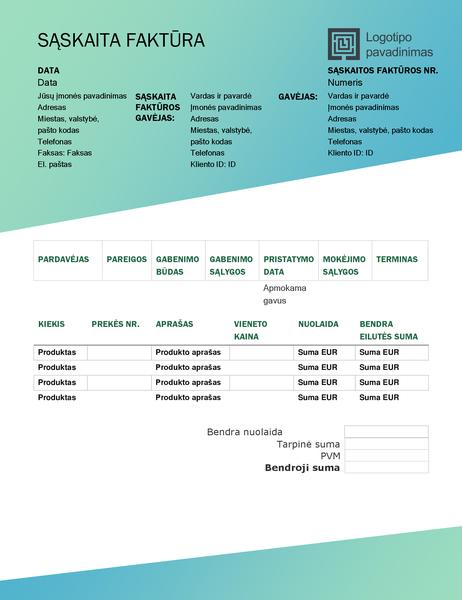 Pardavimo sąskaita faktūra (žalio gradiento dizainas)