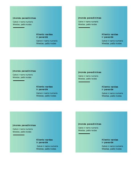 """Siuntimo etiketės (pereinamosios žalios spalvos dizainas, 6 puslapyje, tinka naudoti su """"Avery"""" 5164)"""
