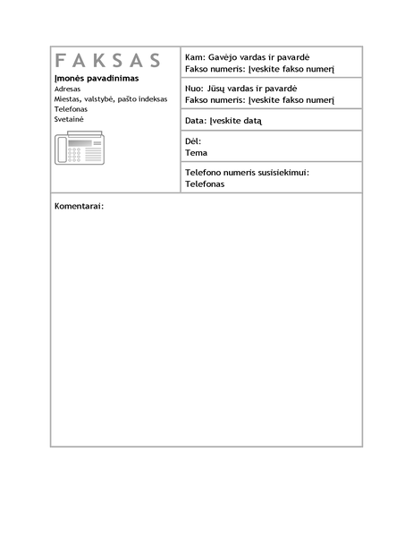 Verslo faksogramos viršelis