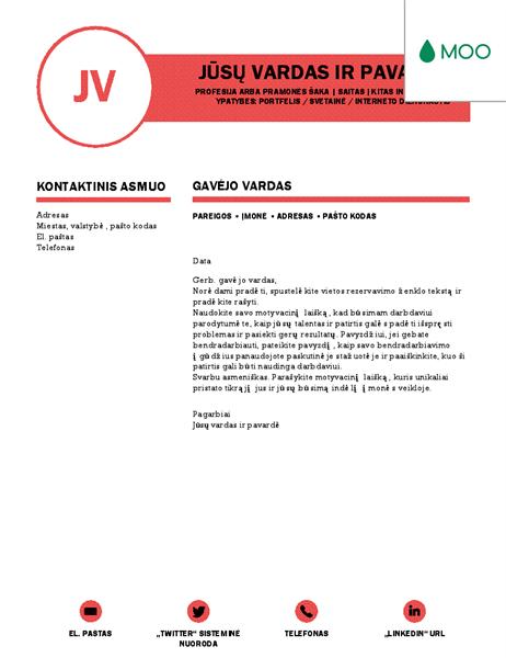Elegantiškas motyvacinis laiškas, sukurtas MOO