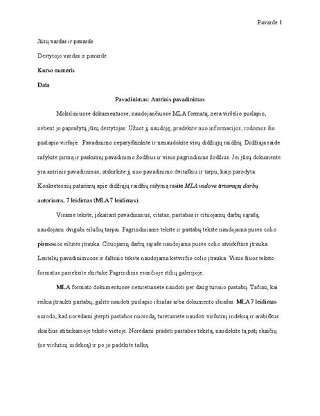 MLA stiliaus dokumentas