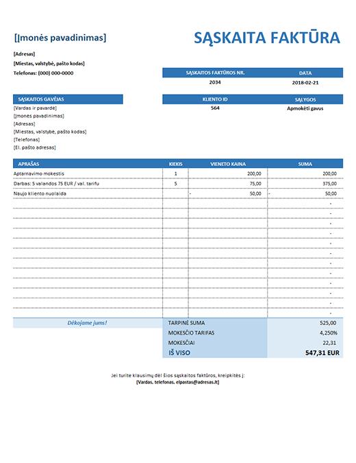 Paprasta paslaugų sąskaita faktūra