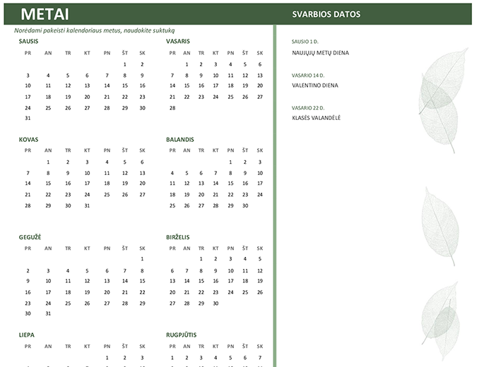 Verslo kalendorius (bet kurių metų, sekmadienis–šeštadienis)
