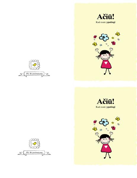 Padėkos atvirukas su maža mergaite
