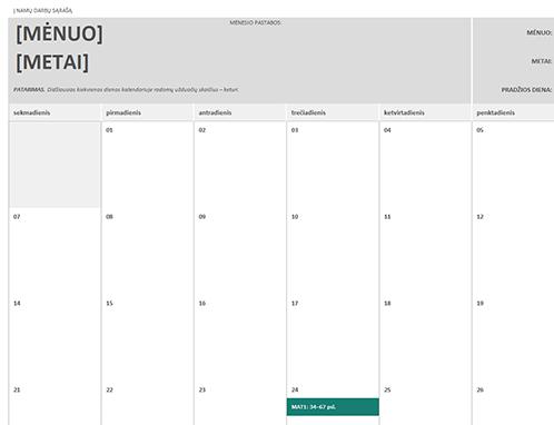 Namų darbų kalendorius