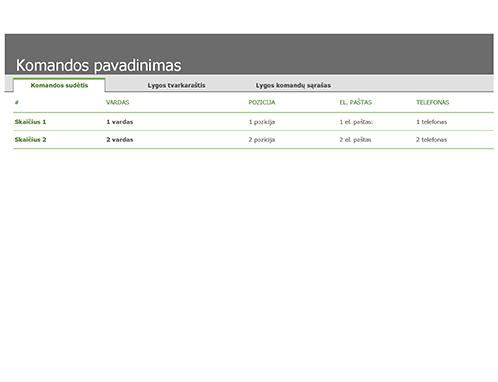 Sporto komandų sąrašas ir tvarkaraštis