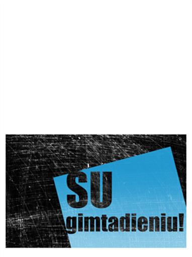 Gimtadienio sveikinimo atvirukas (subraižytame fone, juodai mėlynas, sulenkiamas)