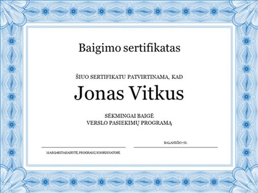Baigimo sertifikatas (mėlynas)