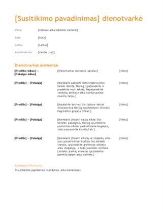 Verslo susitikimo dienotvarkė (oranžinės spalvos dizainas)