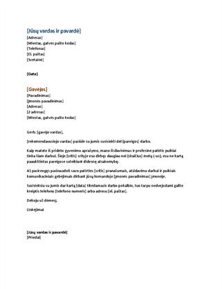 Funkcionalaus gyvenimo aprašymo motyvacinis laiškas (atitinka funkcionalų gyvenimo aprašymą)