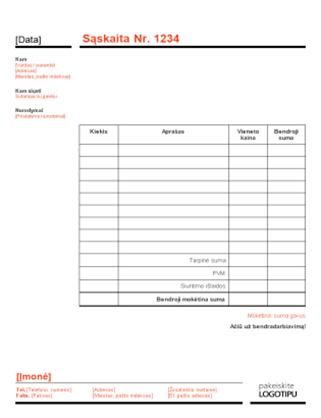 Verslo sąskaita faktūra (raudonas ir juodas dizainas)