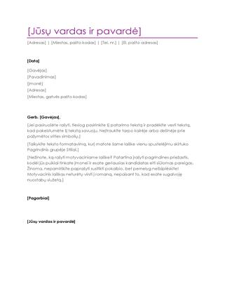 Motyvacinis laiškas, skirtas siųsti kartu su gyvenimo aprašymu (violetinis)