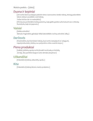 Maisto prekių sąrašas