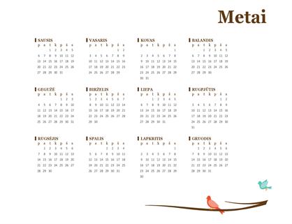 2018 metų kalendorius (pirmadienis–sekmadienis)