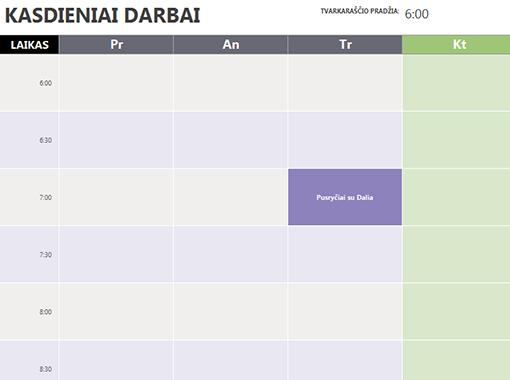 Kasdienių Darbų Kalendorius Templates Office Com