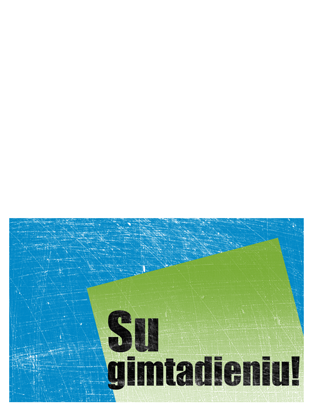 Gimtadienio atvirukas, subraižytas fonas (mėlyna, žalia, perlenktas)