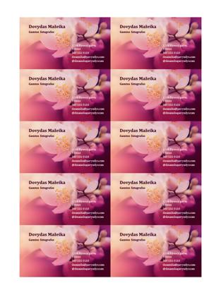 Vizitinės kortelės (gėlių nuotrauka)