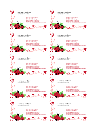Vizitinės kortelės (boružės ir širdelės, sulygiuotos kairėje, po 10 puslapyje)