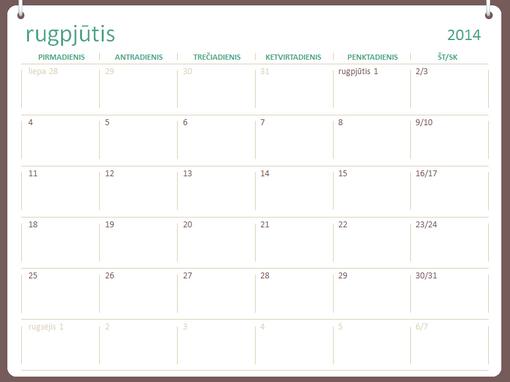 2014–2015 m. mokslo metų kalendorius (rugpjūtis–liepa)