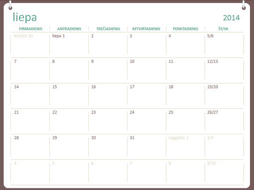 2014–2015 m. mokslo metų kalendorius (liepa–birželis)