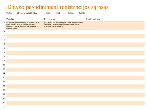 Registracijos sąrašas