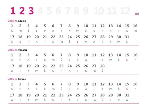 2015 m. ketvirčių kalendorius