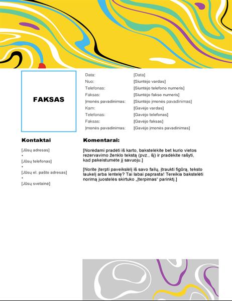 Besisukančių spalvų faksogramos viršelis
